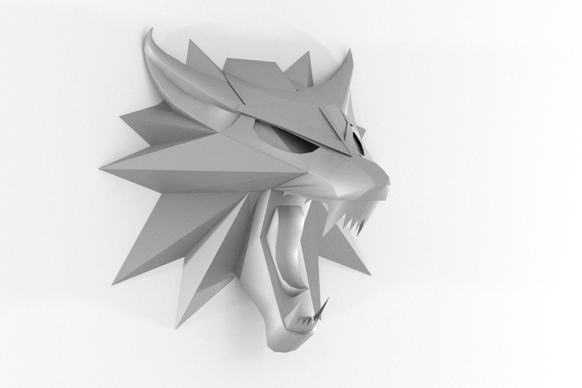 Wolf Wandtrophäe aus Papier